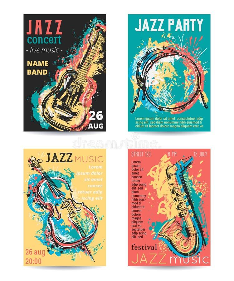Jazzowej muzyki przyjęcie z instrumentami muzycznymi Saksofon, gitara, wiolonczela, bębenu zestaw z grunge akwarelą bryzga ilustracji