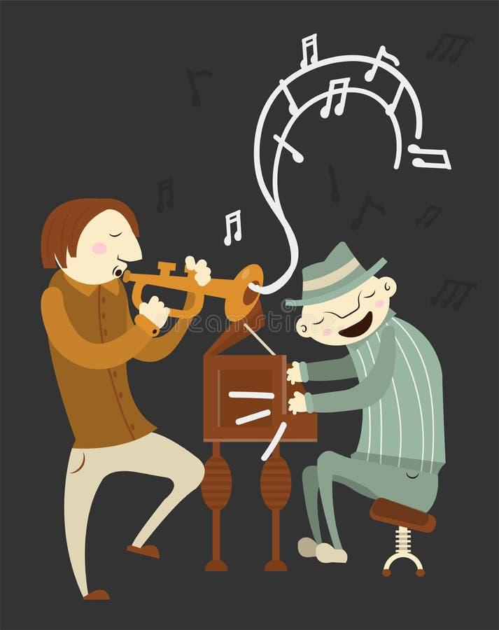 Jazzowi odtwarzaczy muzycznych muzycy tubowi i fortepianowi instrumenty muzyczni ilustracja wektor