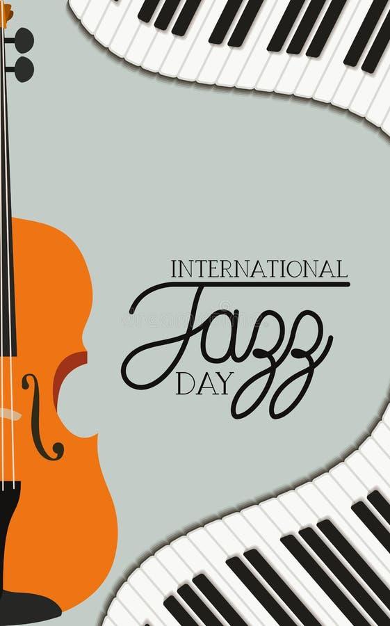 Jazzowy dnia plakat z fortepianową klawiaturą i skrzypki royalty ilustracja