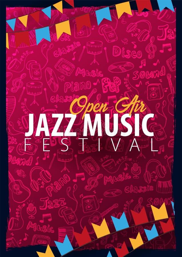Jazzowy festiwal muzyki Na wolnym powietrzu Set ulotka projekta szablon z remisu doodle na tle royalty ilustracja