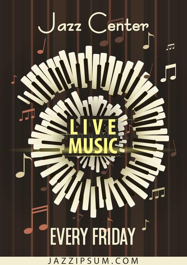 Jazzowy festiwal muzyki, plakatowy tło szablon ilustracja wektor