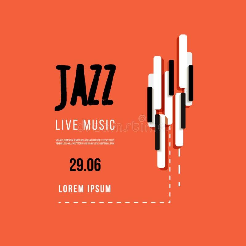 Jazzowy festiwal muzyki, plakatowy tło szablon Klawiatura z muzycznymi kluczami Ulotka Wektorowy projekt ilustracja wektor