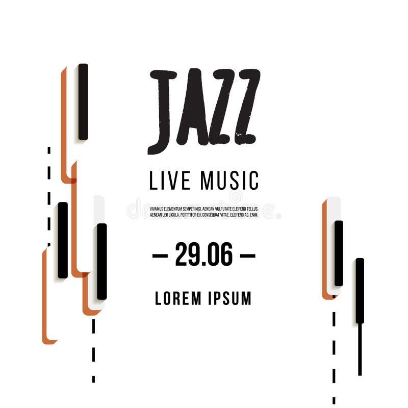 Jazzowy festiwal muzyki, plakatowy tło szablon Klawiatura z muzycznymi kluczami Ulotka Wektorowy projekt royalty ilustracja