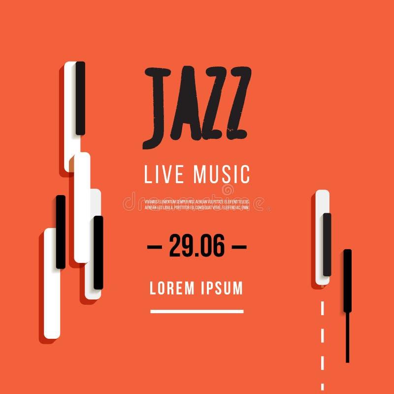 Jazzowy festiwal muzyki, plakatowy tło szablon Klawiatura z muzycznymi kluczami Ulotka Wektorowy projekt ilustracji