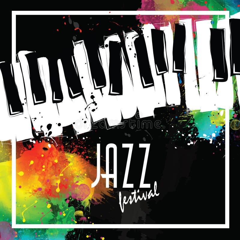 Jazzowy festiwal muzyki, plakatowy tło szablon klawiatura z muzycznymi notatkami Ulotka Wektorowy projekt obraz stock