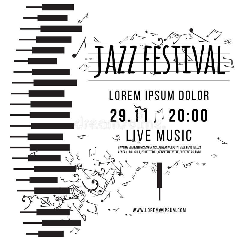 Jazzowy festiwal muzyki, plakatowy tło szablon klawiatura z muzycznymi notatkami wektor ilustracja wektor
