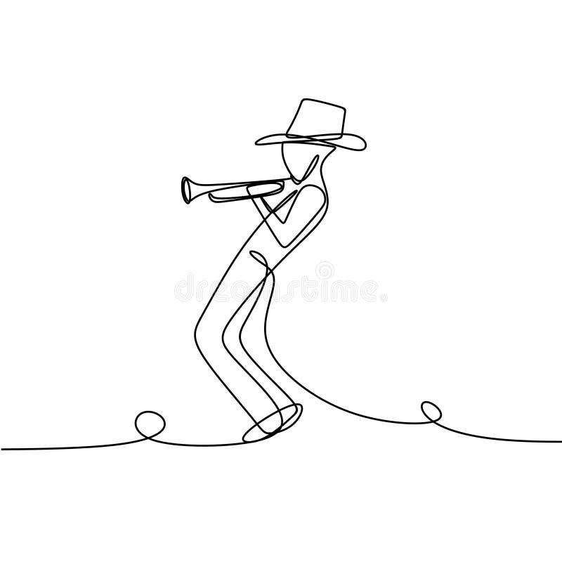 Jazzowy gracz z ciągłym kreskowej sztuki rysunkiem Osoba bawić się trąbkę royalty ilustracja