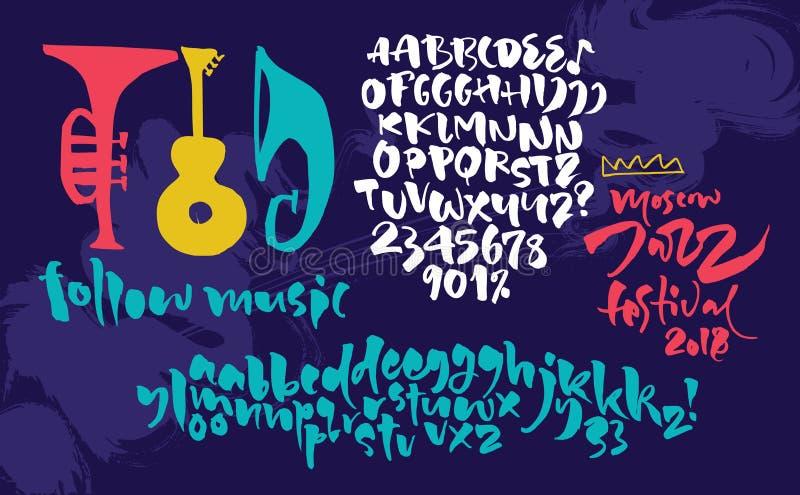 Jazzowy improwizacyjny festiwalu plakat Ekspresyjny kaligraficzny pismo royalty ilustracja