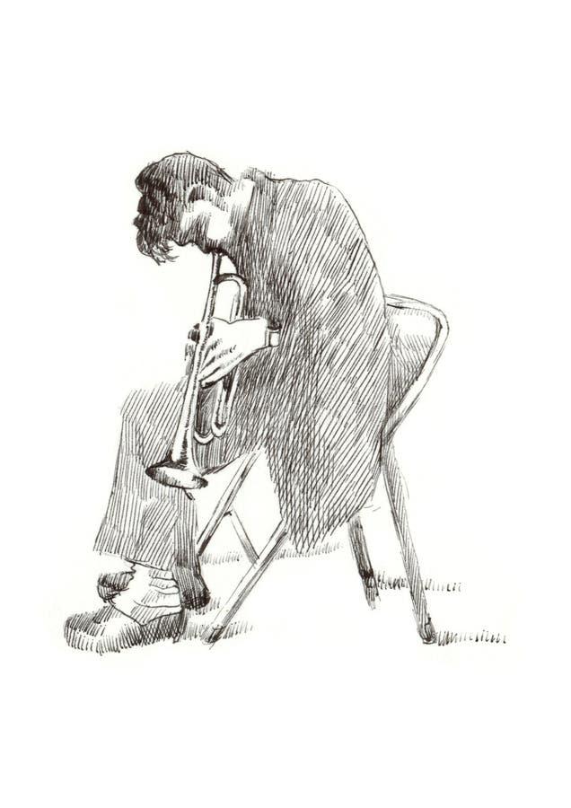 jazzowy mężczyzna royalty ilustracja
