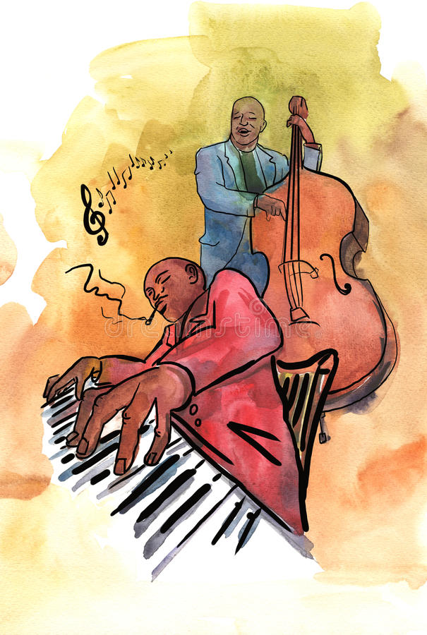 Jazzowy pianista i basista royalty ilustracja