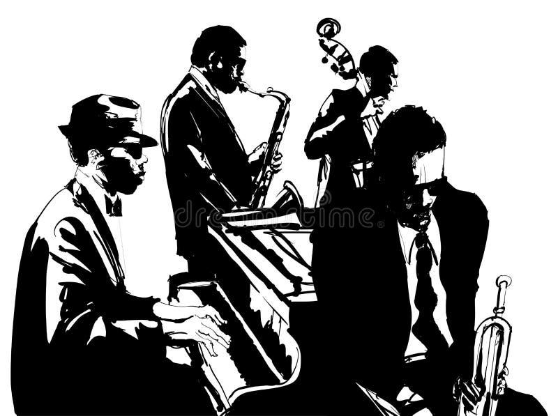Jazzowy plakat z saksofonem, basetlą, pianinem i trąbką,