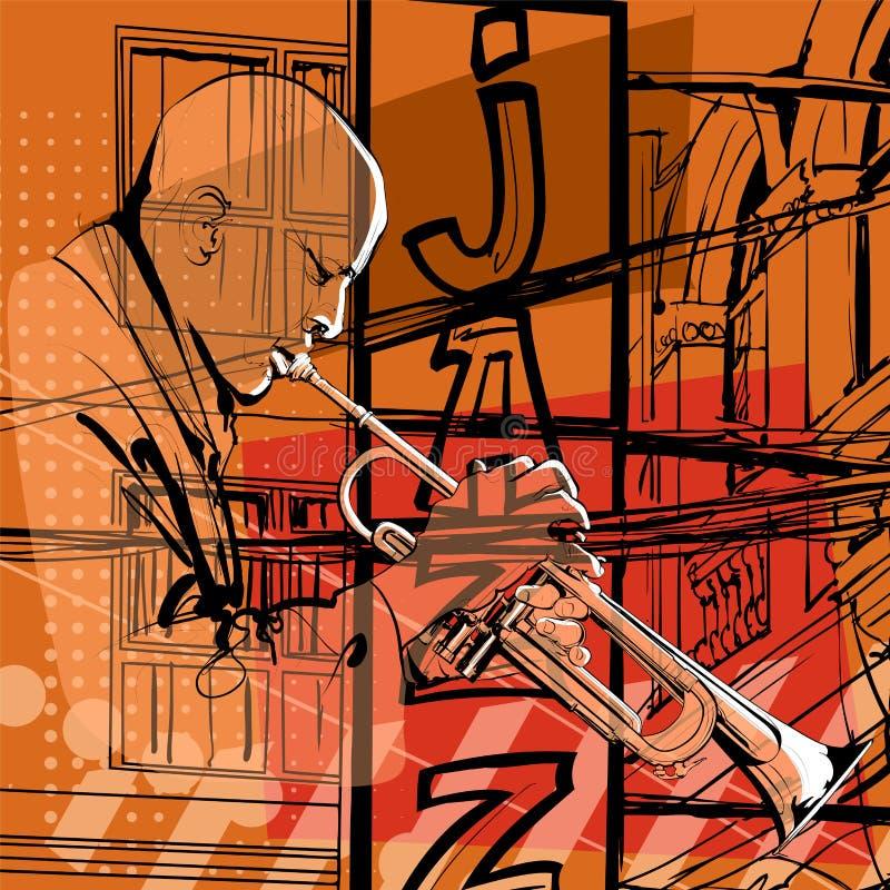 Jazzowy tubowy gracz royalty ilustracja