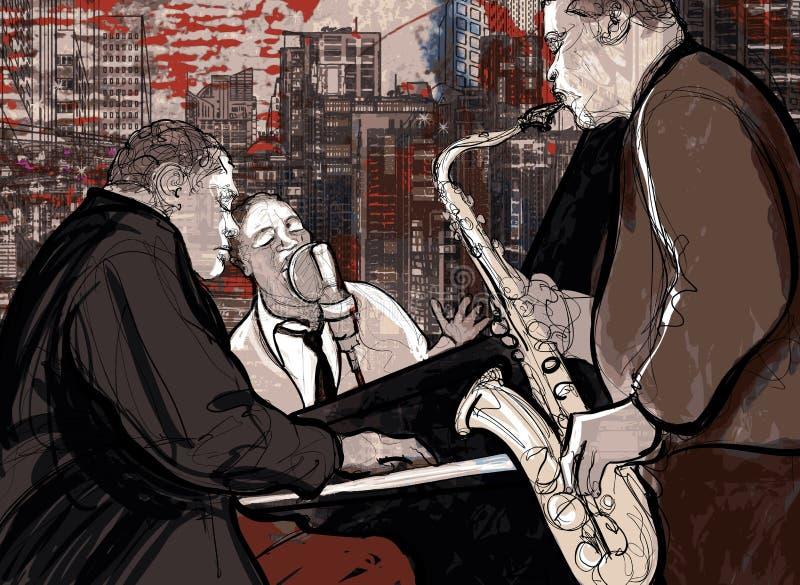 Jazzowy zespół ilustracji