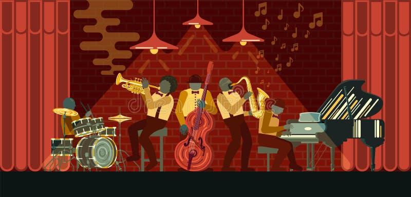 Jazzowy zespół bawić się na pianinie, saksofonie, basetli, kornecie i bębenach w jazzu barze musicail instrumentów, ilustracja wektor