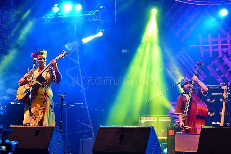 Jazzowy zespół Od Portugalia spełniania Przy Kuching nabrzeża festiwalem jazzowym W Kuching, Sarawak obraz royalty free