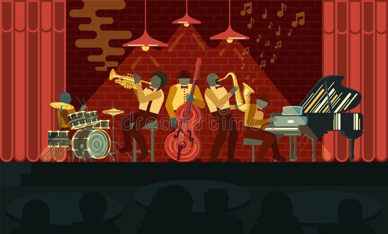 Jazzowy zesp?? bawi? si? na pianinie, saksofonie, basetli, kornecie i b?benach w jazzu barze musicail instrument?w, ilustracja wektor
