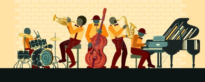 Jazzowy zesp?? bawi? si? na pianinie, saksofonie, basetli, kornecie i b?benach w jazzu barze musicail instrument?w, royalty ilustracja
