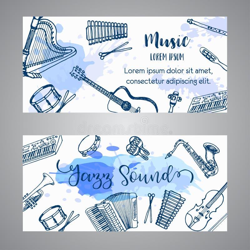 Jazzowych biletów Muzyczni instrumenty, sztandaru projekt Ręki rysujący bęben, piaono, skrzypce, gitara i saksofon na farb pluśni ilustracji