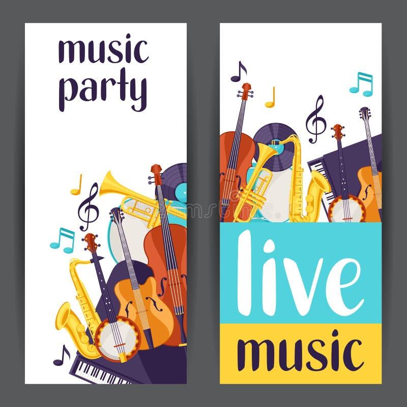 Jazzpartei-Live-Musik-Fahnen mit Musikinstrumenten stock abbildung