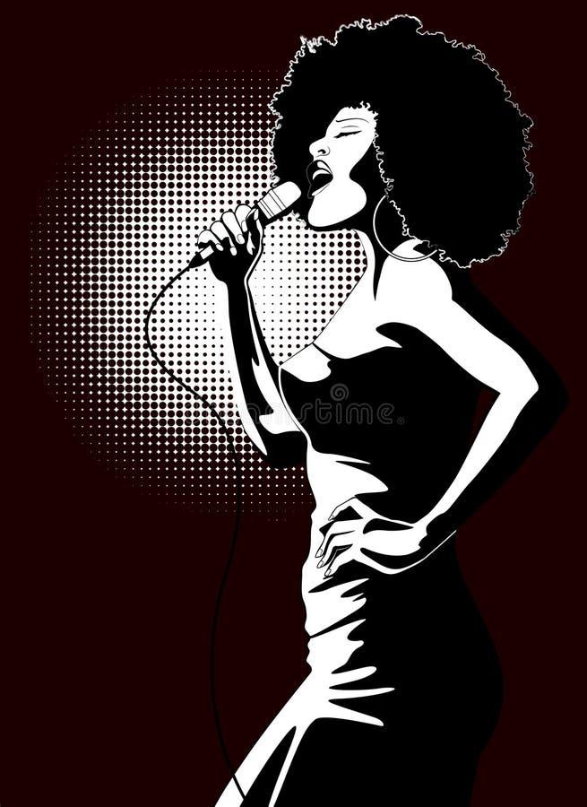 Jazzsänger auf schwarzem Hintergrund lizenzfreie abbildung