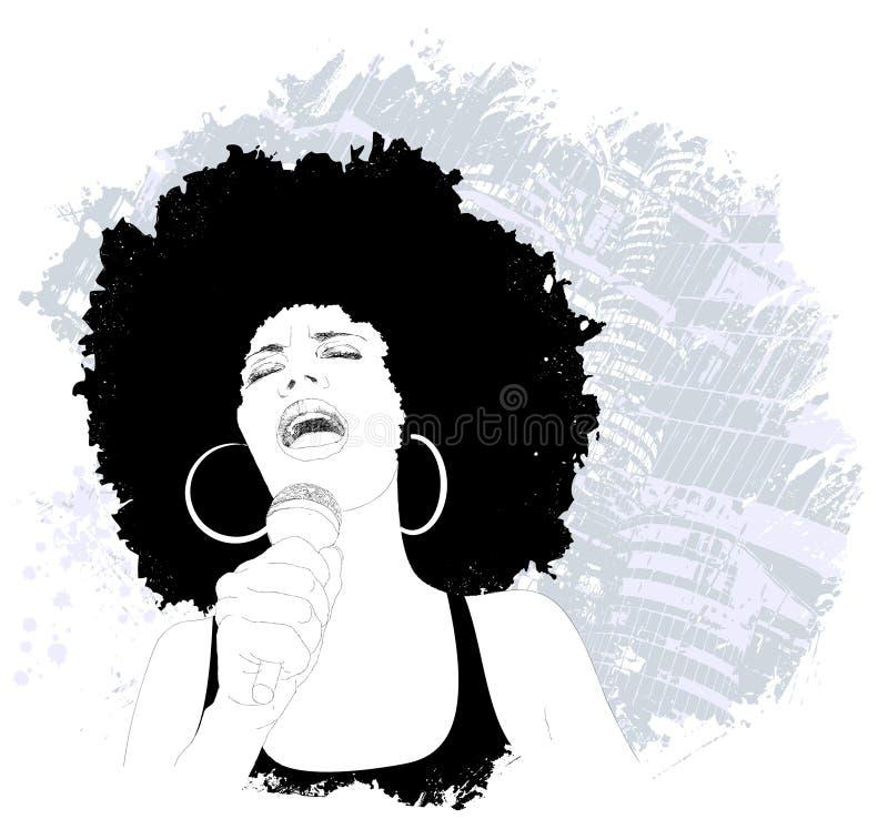 Jazzsångare royaltyfri illustrationer