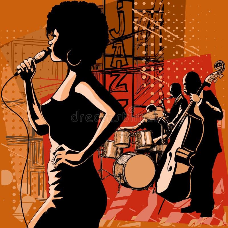 Jazzsångare med saxofonisten och kontrabasspelaren stock illustrationer