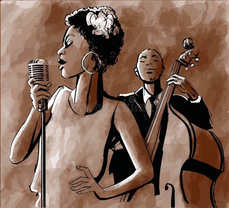 Jazzsångare och kontrabas vektor illustrationer
