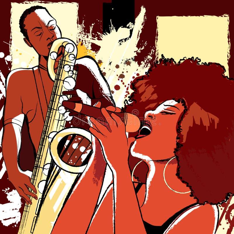 Jazzsångare och saxofonist på grungebakgrund stock illustrationer