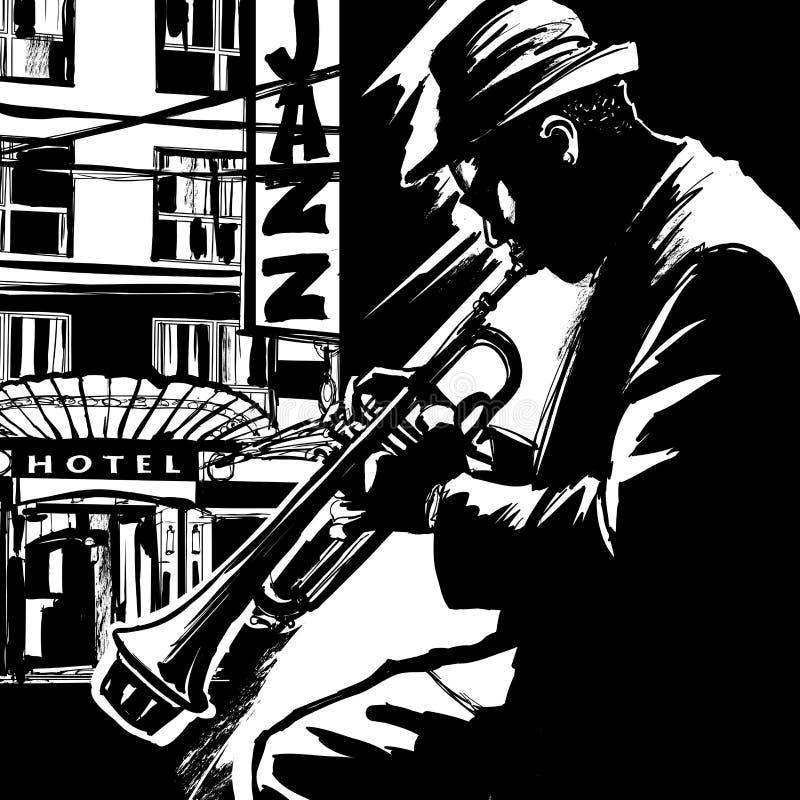 Jazztrompetter royalty-vrije illustratie