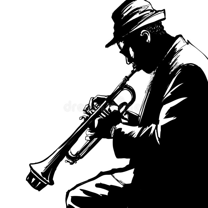 Jazztrompetter vector illustratie