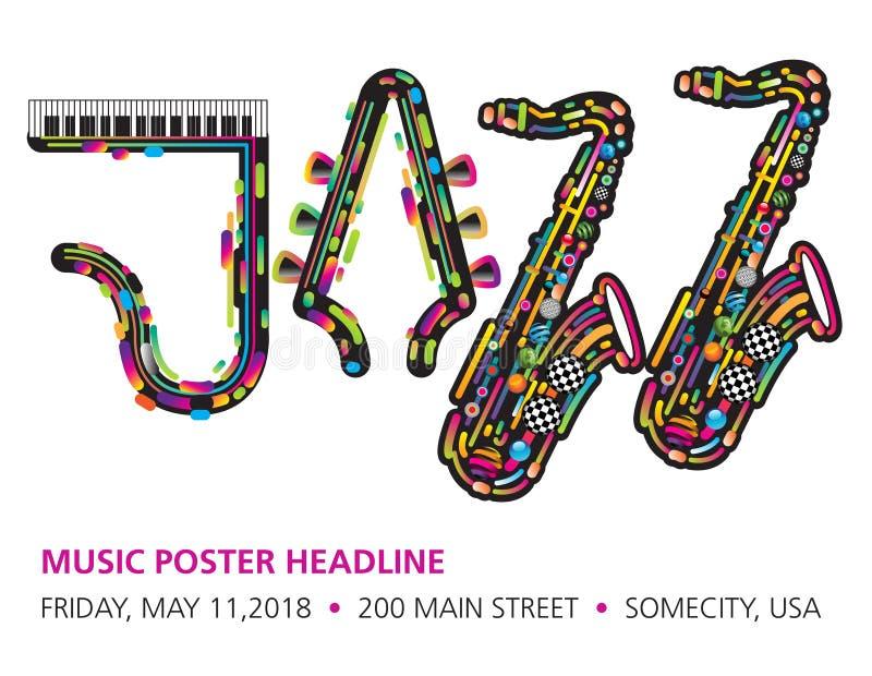 Jazzy färgrik musikbakgrund stock illustrationer