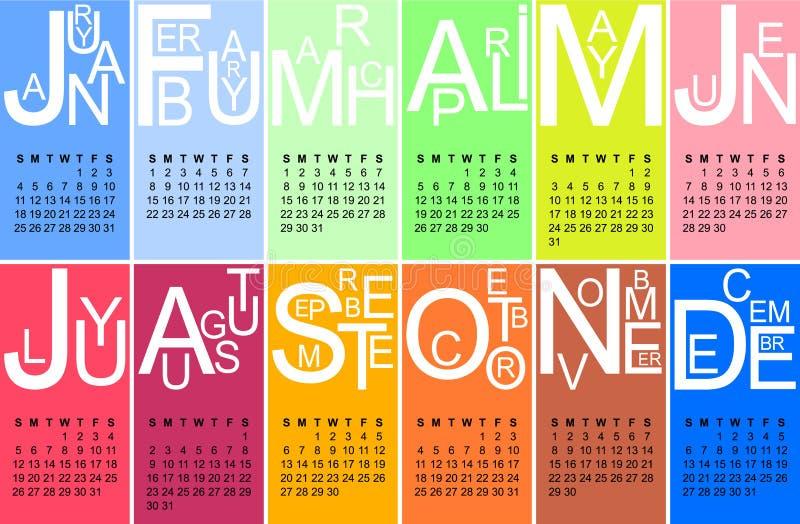 Jazzy kalender 2015 royaltyfri illustrationer