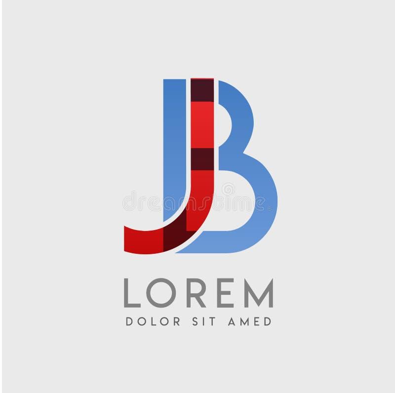 JB-logobokstäver med blå och röd gradering stock illustrationer