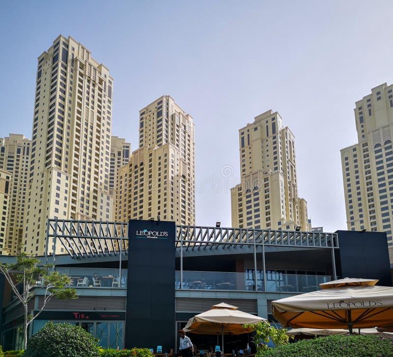 JBR,卓美亚奢华酒店集团海滩住所摩天大楼,一个新的旅游景点区域在迪拜,阿拉伯联合酋长国 库存图片