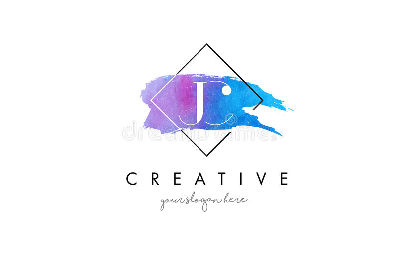 JC Artistic Watercolor Letter Brush Logo. stock illustration
