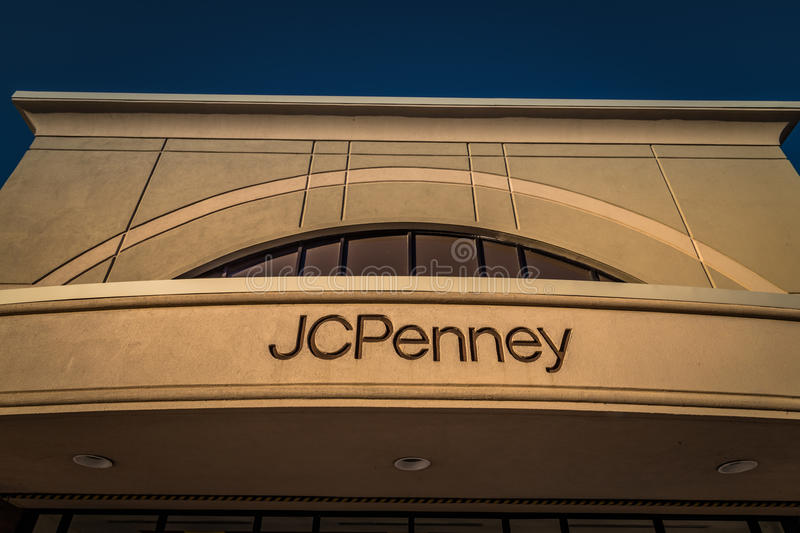 JC Penny Department Store Sign. Harrisburg, PA - January 1, 2017: Exterior sign of a J C Penny store. a chain of retail department stores in over 1000 locations royalty free stock photo