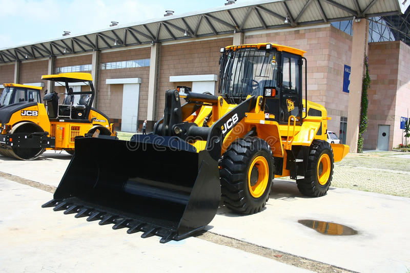 JCB 430ZX Wheeled Loader Launch at HITEX Exhibition. JCB India's 430ZX model Wheeled Loader product Launch at HITEX Exhibition, a construction industry expo royalty free stock photo