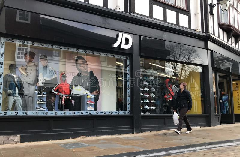 JD Sports store. JD Sports Fashion plc, more commonly known as just JD Sports, is a sports-fashion retail company based in Bury, Greater Manchester, England with stock image