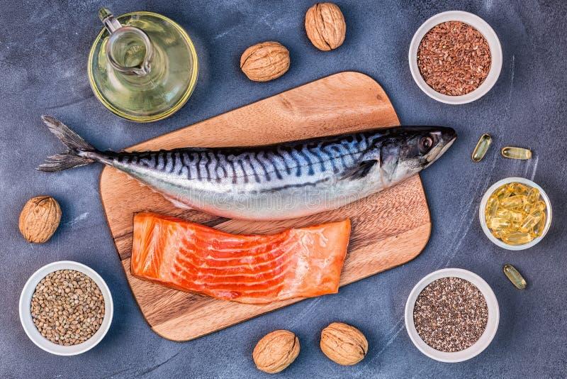 jeść zdrowo pojęcia Źródła omega 3 zdjęcie stock