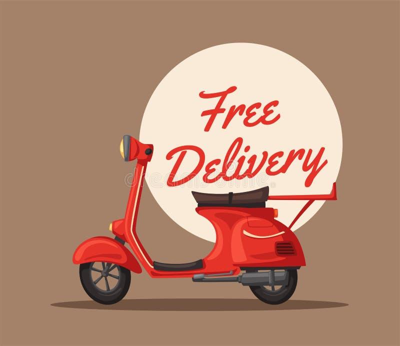 Jeûnez et libérez la livraison Illustration de dessin animé de vecteur Service de traiteur Rétro scooter illustration de vecteur