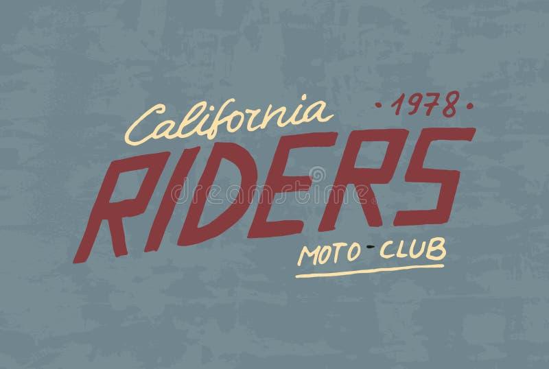 Jeźdza lub rowerzysty świetlicowy szablon Rocznika obyczajowy emblemat, etykietki odznaka dla t koszula Monochromatyczny retro st ilustracja wektor