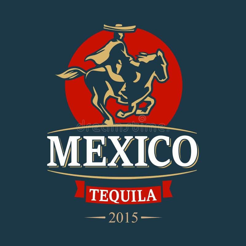 Jeźdza meksykanin w poncho i sombrero jedzie przy zmierzchem ilustracja wektor