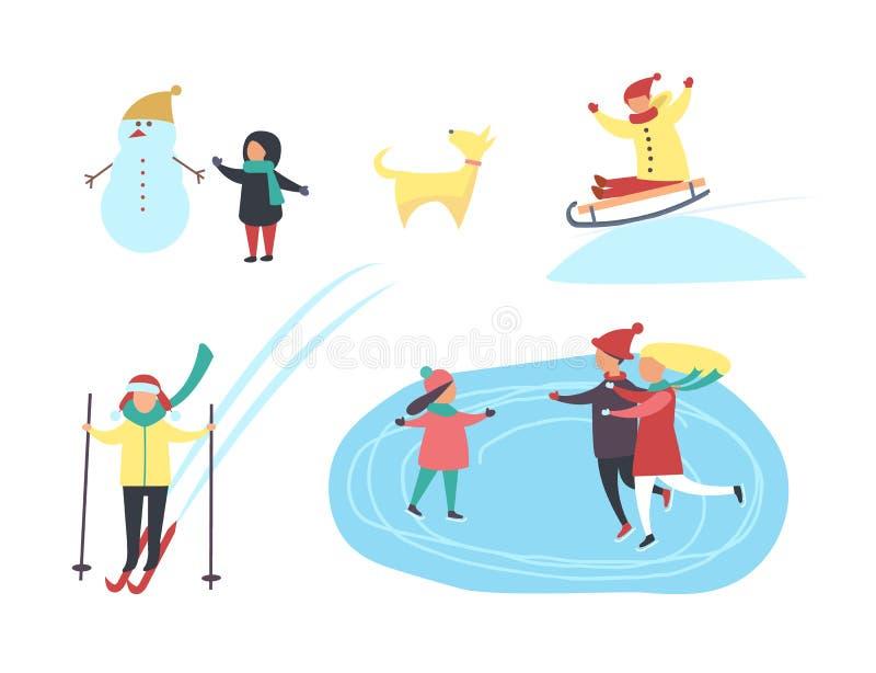 Jeździć na łyżwach i narciarstwa ludzie w zima sezonu wektorze royalty ilustracja