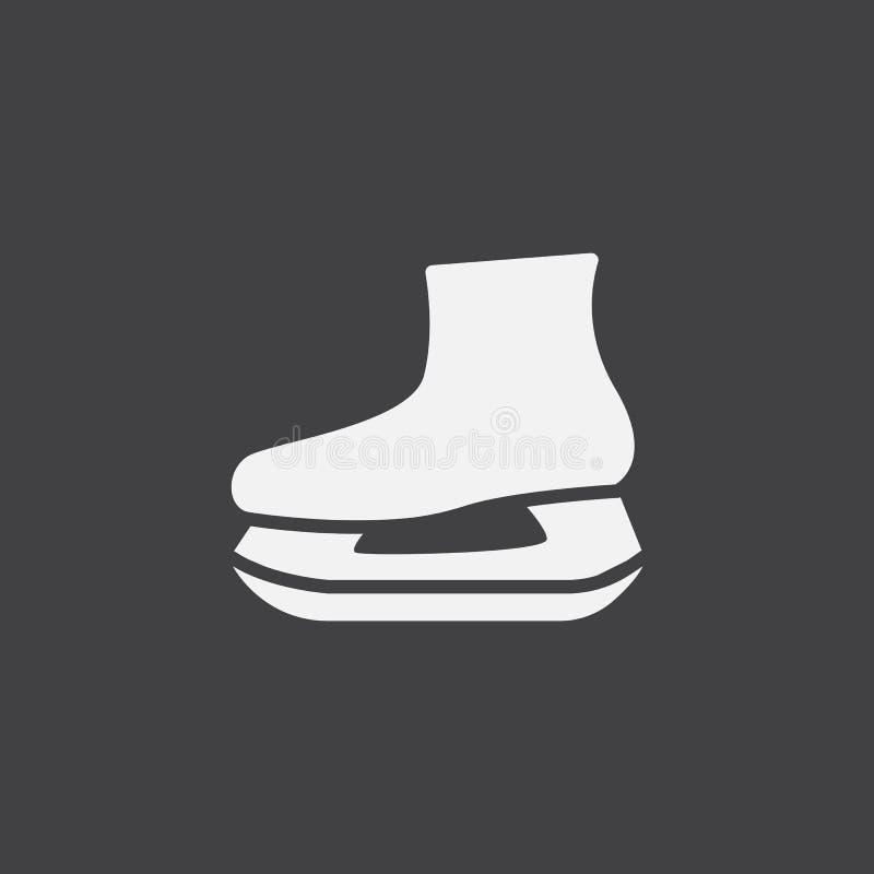 Jeździć na łyżwach ikona wektor, stała logo ilustracja, piktogram odizolowywający na czerni ilustracja wektor