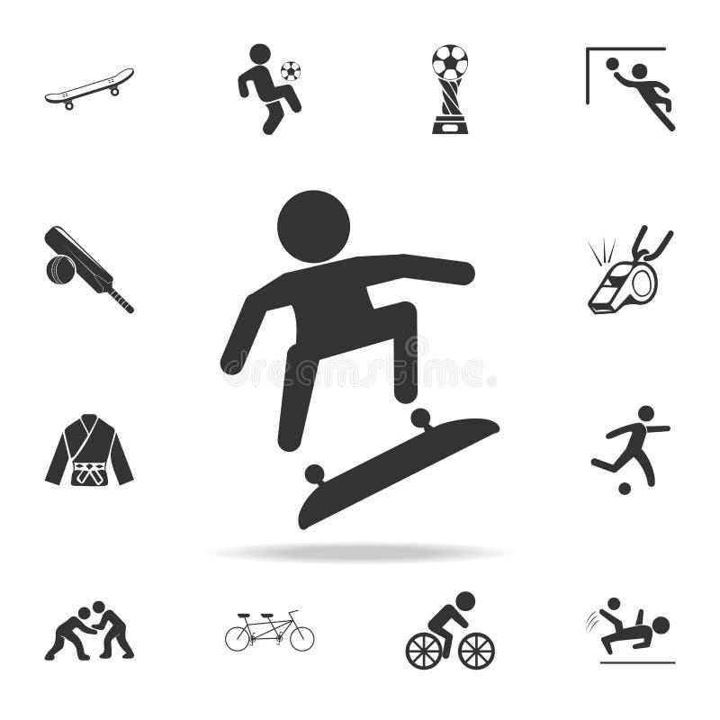 jeździć na deskorolce ikonę Szczegółowy set atlet i akcesoriów ikony Premii ilości graficzny projekt Jeden inkasowe ikony fo royalty ilustracja