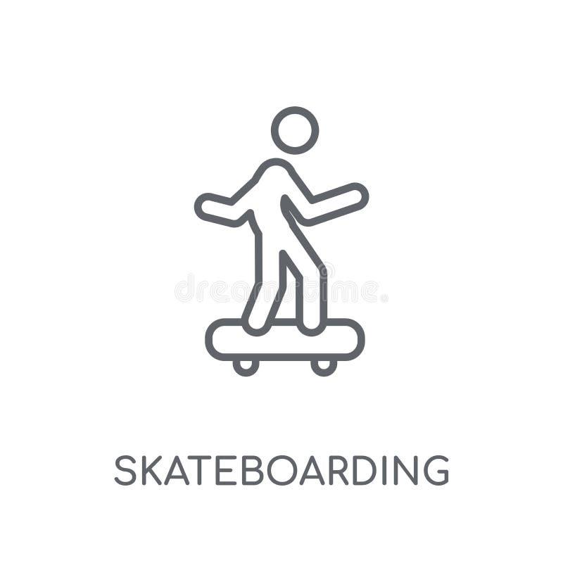 Jeździć na deskorolce liniową ikonę Nowożytny kontur Jeździć na deskorolce logo przeciw ilustracja wektor
