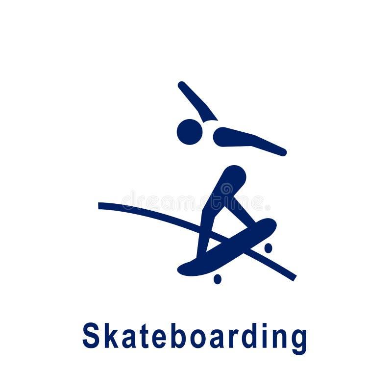 Jeździć na deskorolce piktogram, nowa sport ikona ilustracji
