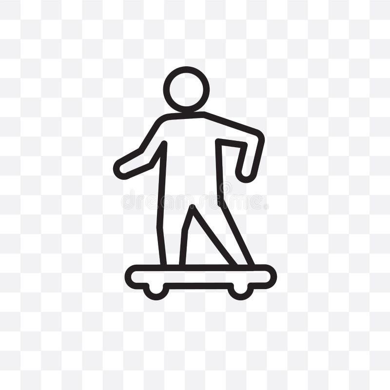 Jeździć na deskorolce wektorową liniową ikonę odizolowywającą na przejrzystym tle, Jeździć na deskorolce przezroczystości pojęcie ilustracji