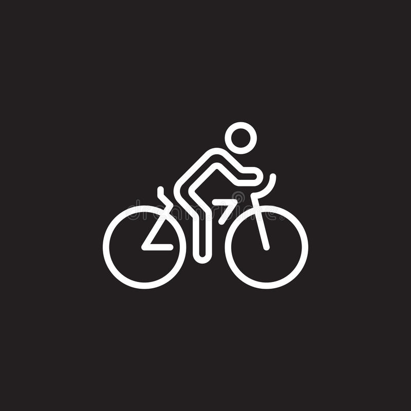 Jeździć na rowerze kreskową ikonę, rowerowy konturu wektoru znak, liniowy piktogram odizolowywający na czerni ilustracji