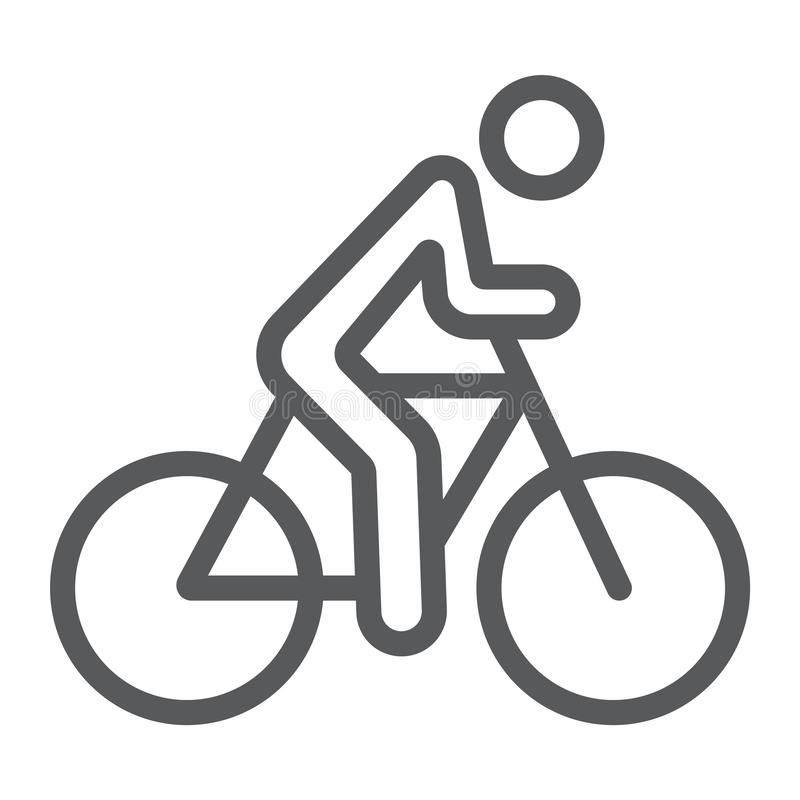 Jeździć na rowerze kreskową ikonę, sport i rower, mężczyzna na bicyklu znaku, wektorowe grafika, liniowy wzór na białym tle royalty ilustracja